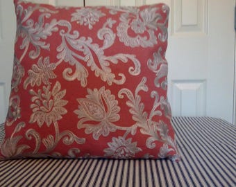 Embroidered floral style cushion, pillow
