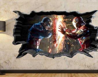 Captain America Vs Iron Man 3D Cracked Wall Effect Wall Sticker Art Decal  Mural 21A Part 86