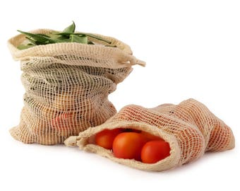 Mesh bag Mesh produce bags Set of 7 Organic cotton Produce Bag  vegetable Fruits Storage Bags,reusable mesh produce sacks