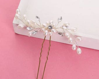 Wedding pearl hairpin,Pearl flower hairpin,bridal hairpin,bridesmaid gift