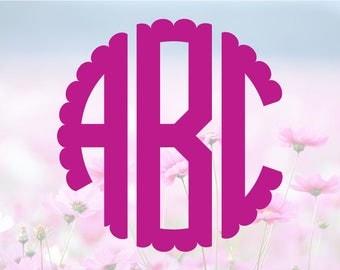 Scalloped Monogram SVG, Alphabet Letters SVG, Monogram Font, SVG Cutting Fonts, Svg Files, Svg files for silhouette