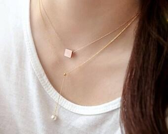 Long Silver Necklace, Drop Necklace, Pearl Necklace, Delicate Necklace, Dainty Necklace, Long Necklace, Simple Y Necklace