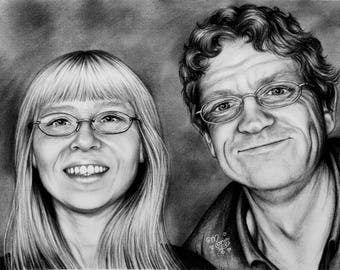 Custom couple portrait, B&W, charcoal