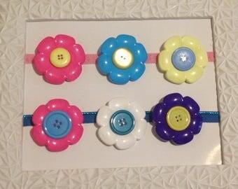 Large button flower brooch handmade