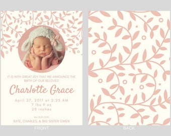 Baby Girl Birth Announcement - Charlotte