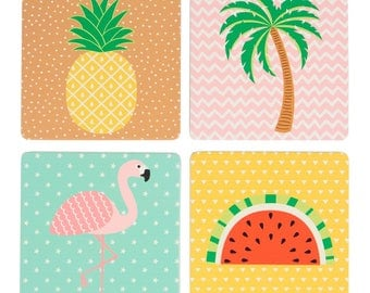 Set of 4 Tropical Coasters