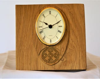 Clock, free standing,  with Celtic design carved from one piece of oak