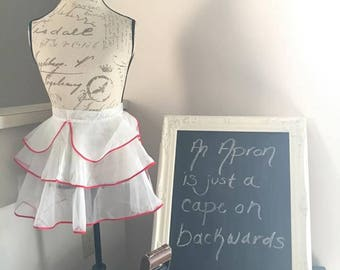 Adorable White and Red Trimmed Apron