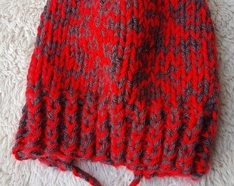 Hand knit split brim child hat red charcoal with pompom