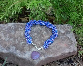 Purple Spiral Beaded Bracelet