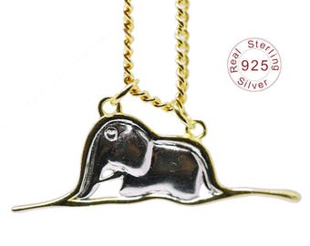 20% off Sale- Elephant In Boa  Silver Hand-Made Necklace