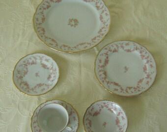 6 Piece Place Setting Bavarian China Bridal Rose Pattern