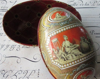 Vintage Tin Easter Egg Container Classical Faberge Design