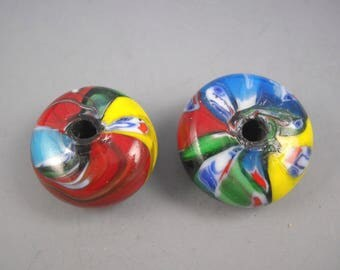 Lampworked Artisan Glass Focal Beads Bold Colorful Swirls of Opaque Primary Colors Red Yellow Greens and Black