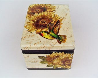 Recycled box, jewelry storage,  sunflowers and bird design, music theme, dresser decor, counrty box, fabric decoupage , easy lift top