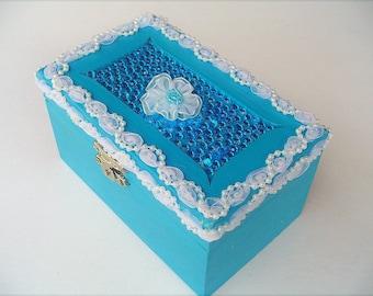 Turquoise jewelry box, wood storage, little girls gift, dresser decor, beaded center, white flower and trim