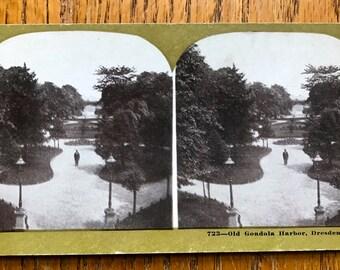 "Stereoscope Stereoview 3D Photo Card 1800 Era Metropolitan Series No 723  ""Old Gondola Harbor, Dresden"""