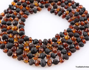 True Baltic Amber teething necklaces, baroque shape polished beads
