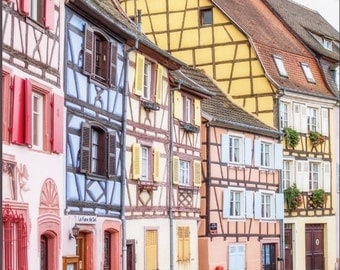 Pastel Houses of Colmar Canvas Print, Half Timbered Houses, France Photography Large Wall Art