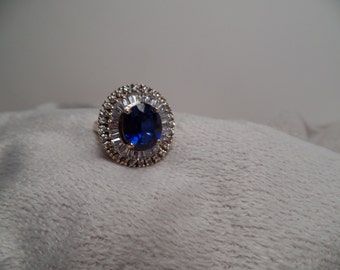 Faux Sapphire and Faux Diamond Ring Signed Jolie Gabor