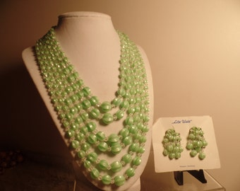 1950's Mint Green Bead Set Signed West Germany