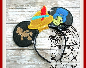 WooDEN BoY CRiCKET Inspired Character (3 Piece) Mr Ms Mouse Ears Headband ~ In the Hoop ~ Downloadable DiGiTaL Machine Emb Design by Carrie