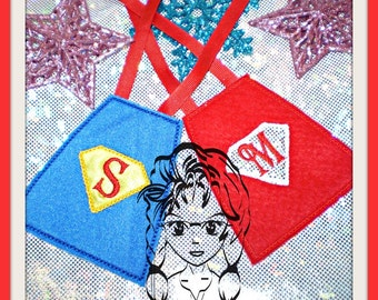 SuPER HeRO CaPE A thru Z Incl Christmas ~ ELF Size ~ In the Hoop ~ Downloadable DiGiTaL Machine Embroidery Design by Carrie