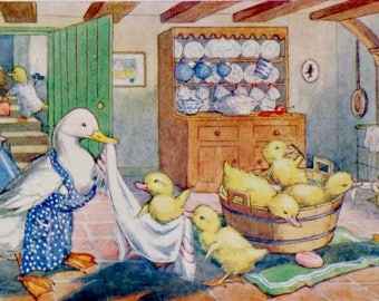 Vintage Postcard, Molly Brett, Medici Society, Ducklings Bath Time, Dressed Animals, Paper Collectibles, Ducklings, Woodland Art