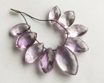 Pink amethyst faceted marquise briolette 9 beads