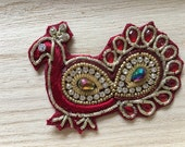 Handmade Red Indian Peacock Applique 80mm