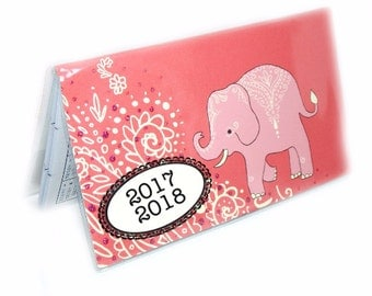 2017 2018 mini Planner - Mehndi Elephants pocket planner - two year calendar - 2 year monthly HORIZONTAL FORMAT stocking stuffer new year