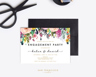 Engagement Party Invitation, Engagement Party Invite - ASHLEY Collection - Printable PDF or JPG File