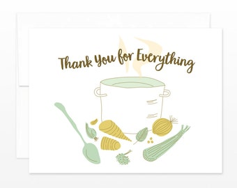 Thank You Stock Pot Card - Thank You Greeting Card - Friendship Thanks Card, Card for Friend, Card for Your Help, Huge Thanks, Food Thanks