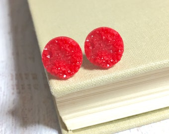 Bright Red Druzy Studs, Sparkling Red Studs, Red Stud Earring, Red Drusy Stud, Druzy Jewelry, Surgical Steel Stud, KreatedByKelly (SE8)