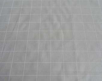 Fabric panel - Grid in white ink on cotton linen blend fabric. Textiles designed and screen printed in Melbourne.