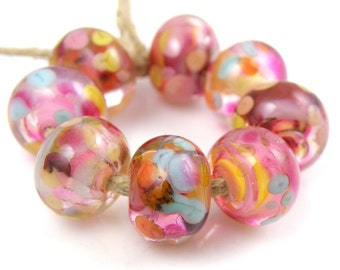 Take a Chance - Handmade Artisan Lampwork Glass Beads 8mmx12mm - Blue, Pink, Gold - SRA (Set of 8 Beads)