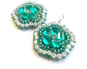 Turquoise & White Flower Beaded Earrings