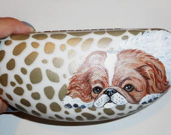 Japanese Chin Dog  Hand Painted Eyeglass Case Vegan Sunglass Case