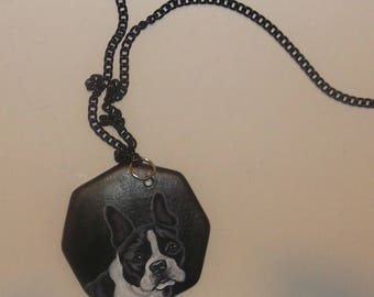 Boston Terrier Dog Necklace Hand Painted Ceramic Pendant