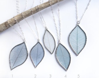 The Giving Tree- LIGHT BLUE and silver, real skeleton leaf necklace pendant, sterling silver chain Gift for Nature Lovers
