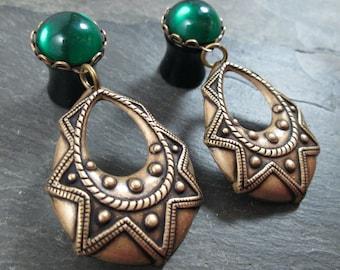 "Dangle Plugs - 00g - 7/16"" - 1/2"" - Tribal Plugs - Antiqued Brass - Dangle Gauges - Tribal Jewelry"