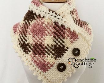 Crochet Plaid Neckwarmer, Planned Pooling Cowl, Crochet Cowl, Crochet Scarf, Argyle Scarf, Plaid Scarf, Boston Harbor Cowl - Ready to Ship