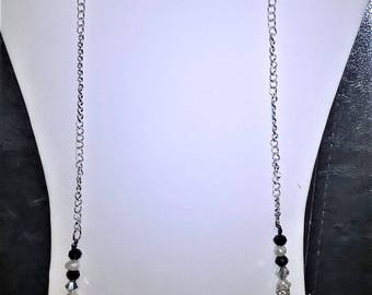 """32"""" White Cultured Pearl Watermelon Beaded Silver Chain Necklace Jewelry Set"""
