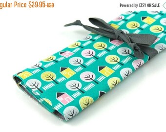 Sale Large Knitting Needle Case - House and Garden - 30 gray pockets for circular, straight, dpn, or paint brushes
