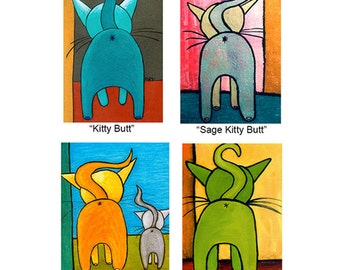 Kitty Butt Boxed Greeting Card Set of 8