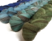 Handpainted Heathered BFL Wool Roving Bundle - 4 oz. SEAGLASS - Spinning Fiber