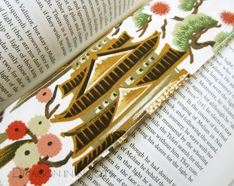 Pagoda Fabric Bookmark - cream colored, asian style, sewn book accessory, gift under 10, japanese floral, gift for readers