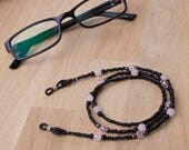 Glasses chain - Rose quartz and hematite black bead gemstone glasses cord | Eyeglass necklace | Spectacle chain | Eyewear accessories