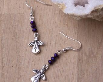 Angel earrings ** ON SALE **  - Cute Smiling Angel purple bead dangle earrings | Happy angel jewellery | Silver angel jewelry