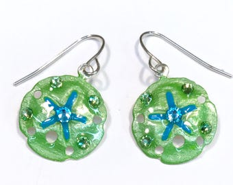 Tropical Sanddollar Earrings Handpainted in Green and Aqua